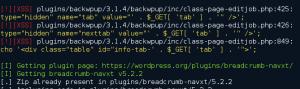 Figure 1 - Zeropress output during a scan of popular WordPress plugins