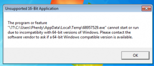 Execution error on 64bits Windows 7