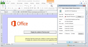 Figure 2 - Office document with a vbs script as embedded object - the user does not need to enable macro